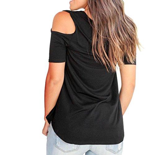 T Blouses paule Femmes noir tefamore Shirt Manches Strappy Froide Courtes Y Hauts d't fOvqAT0