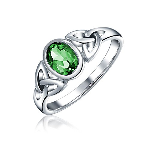 Bling Jewelry Simulated Emerald Glass Celtic Knot Triquetra Sterling Silver...