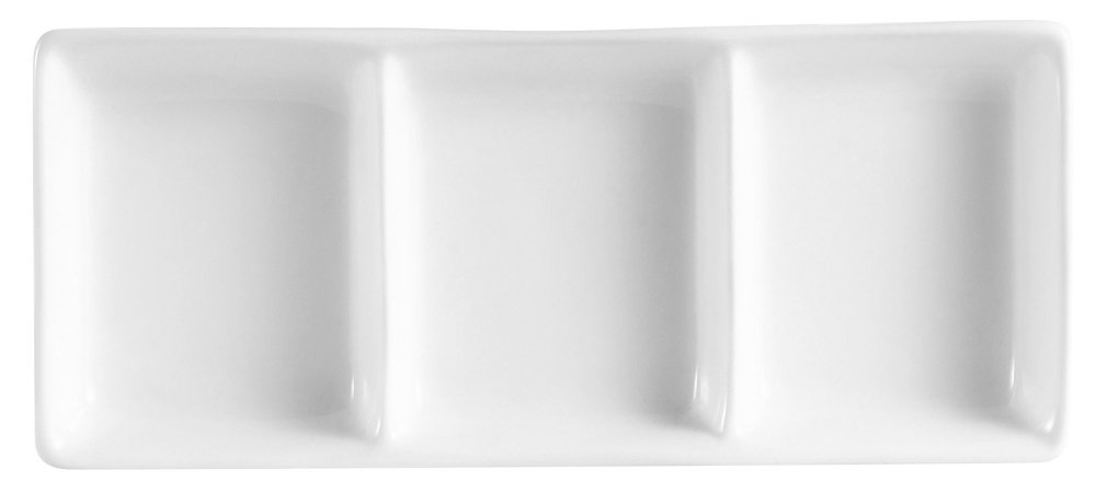 CAC China CN-D3 Accessories 7-1/2-Inch by 3-1/4-Inch Super White Porcelain 3-Compartment Rectangular Sauce Dish, Box of 36