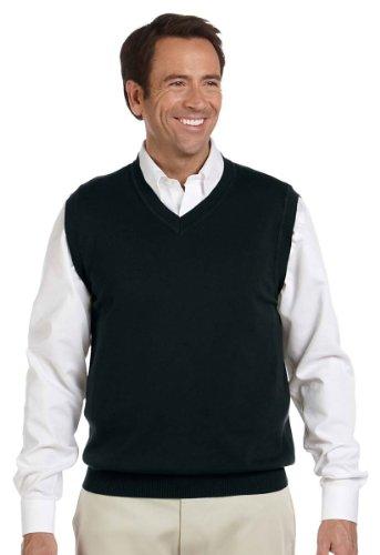 Devon & Jones Men's Full Fashioning Lighter Weight V Neck Vest, BLACK, (V-neck Vest Pattern)