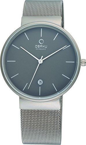 Obaku V153GDTJMJ Mens Grey Titanium Mesh Bracelet Watch