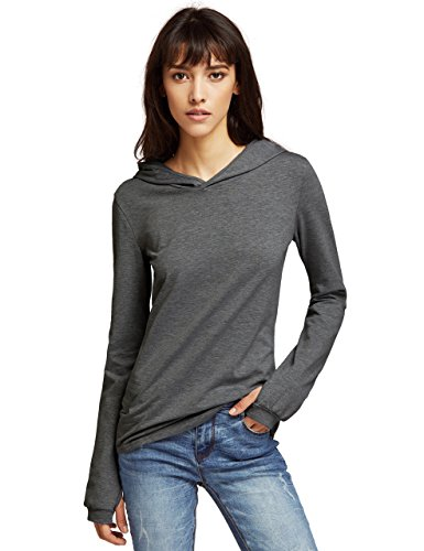SheIn Women's Hooded Long Sleeve Thumb Holes Top Shirt - Grey Large