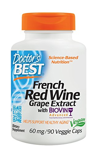 Doctor's Best French Red Wine Grape Extract, Non-GMO, Vegan, Gluten Free, Soy Free, 90 Veggie Caps