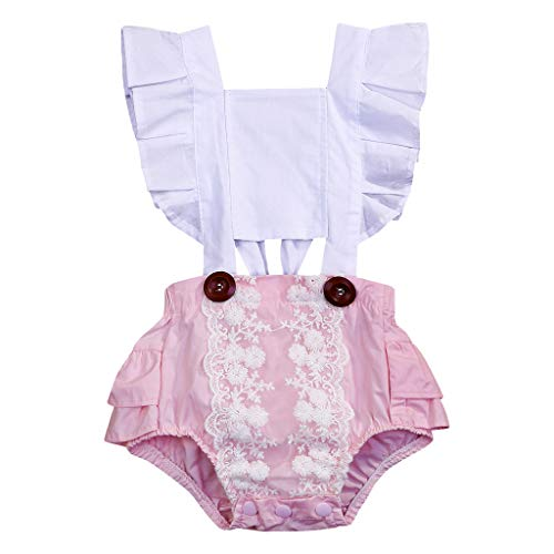 Newborn Baby Girl Toddler Lace Cotton Romper Pink Ruffles Bodysuit Outfit Clothes Set (18-24Months, White Pink)