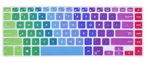 Colorful Keyboard Cover Compatible ASUS VivoBook F510UA F510UF / ASUS VivoBook S 15.6 / ASUS VivoBook S510UA S510UN S510UQ 15.6 / ASUS ZenBook Pro UX550VE UX580 15.6 inch Laptop, Rainbow