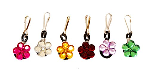 (6 pcs Crystal Flowers Zipper Pull Charms for Jacket Backpack Bag Pendant)