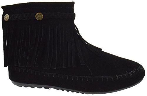 Lucita Fringe Moccasin Boots Ankle TG Black 01 rEqw0zrxT