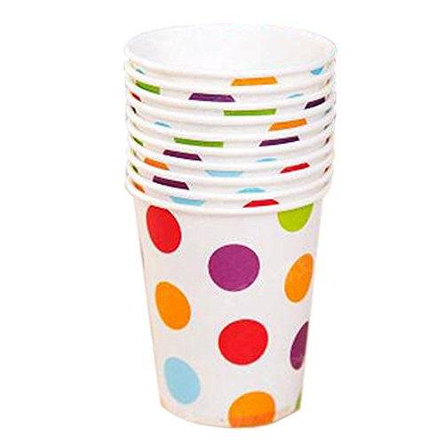 40 Counts Office/Home Disposable Cup Water Paper Cup, Colorful Dots