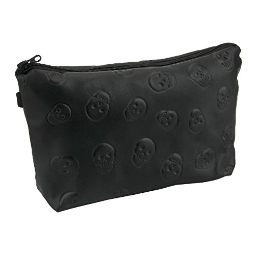 CHIC DIARY Women Cosmetic Pouch Portable Travel Makeup Bag with Zipper Closure (Black Skull)