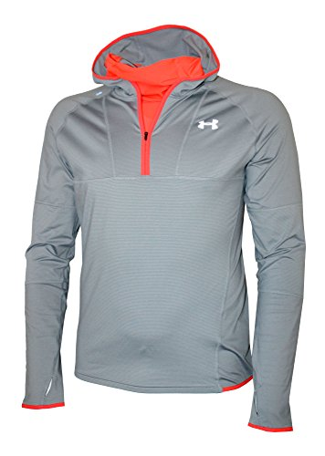 Under Armour Men's Athletic 3/4 Zip Hooded Running Long Sleeve Shirt Hoodie (XXL, Steel)
