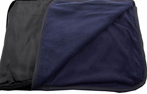 4 in 1 Outdoor Waterproof Fleece Stadium Blanket Throw Cushion Black/Navy