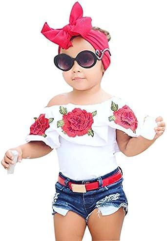 Fannyfuny_Ropa Bebe Niña Verano Recién Nacido Blusas Linda Camiseta sin Mangas con Estampado Flores para Recien Nacido Niños 12 Meses - 5 Años Ropa Verano: Amazon.es: Ropa y accesorios