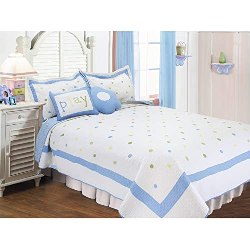 Textiles Plus Poka Dots Quilt Set with 2 Cushions, Full/Queen, Sky Blue