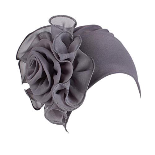 Women Ladies Retro Big Flowers Hat Turban Brim Hat Cap (Gray)