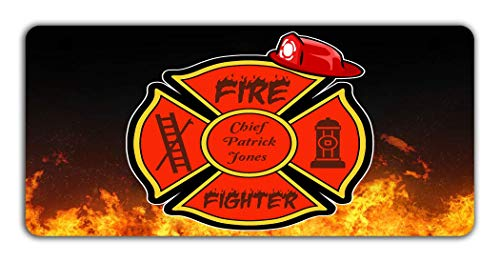 Plate Firefighter 7 - BRGiftShop Personalized Custom Proud Firefighter Fire Fireman Retired Motorcycle Golf Cart 4