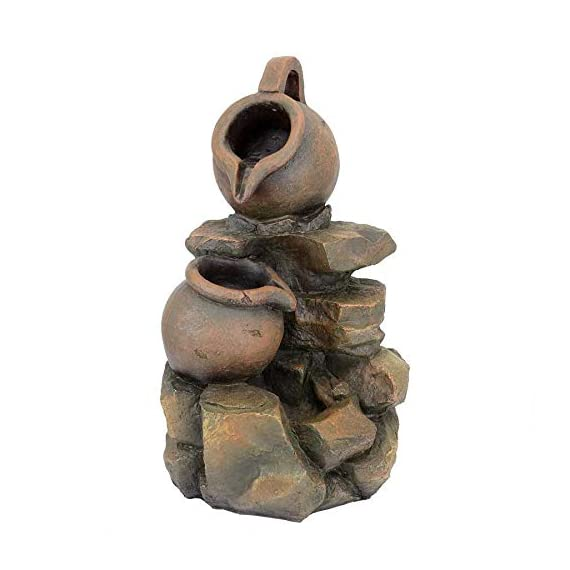 Water Fountain with LED Light - LaTaverna Water Jug Garden Decor Fountain - Outdoor Water Feature - WATER JUG GARDEN FOUNTAIN - Sure to be the crowning statement on your garden patio, multiple cascading streams of water flow over the rock fountain design to create an in-home oasis and peaceful, meditative atmosphere. Volts - 110 V SPARKLING LED LIGHTS - Enjoy our water feature LED fountain lights in the evening on your garden patio with the sparkling glow of low voltage LED lights. LOW MAINTENANCE OUTDOOR DECOR - Hand-cast using real crushed stone bonded with durable designer resin, our easy to set up water fountains require no additional plumbing and include adjustable UL approved, indoor outdoor fountain pumps. Just assemble, fill them with water to completely submerge the pump and plug it into a standard electrical outlet. Now enjoy the sounds of water music! - patio, outdoor-decor, fountains - 41 4d4PrY3L. SS570  -