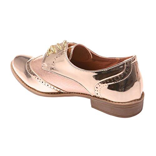 Dorado La Modeuse Cordones Zapatos De Para Mujer qYO0qxw