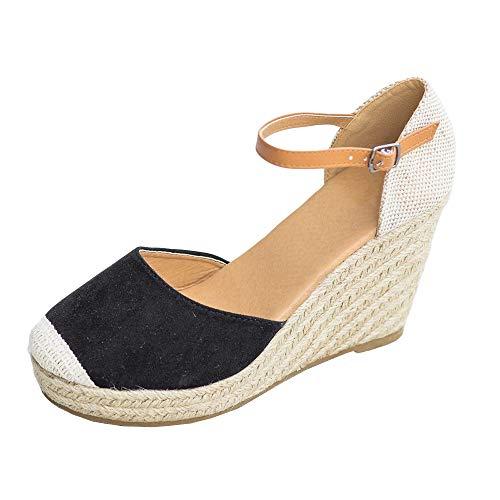 (FISACE Womens Summer Espadrille Heel Platform Wedge Sandals Ankle Buckle Strap Closed Toe Shoes (11 M US, Black))