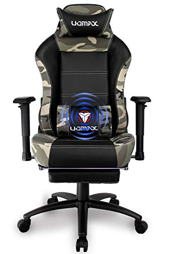 Cheap UOMAX Gaming Chair Ergonomic Office Recliner for Computer, Racing Style Armchair Swivel with Massage Lumbar Support. PU Leather E-Sports Seat with Retractable Footrest. (Camo)