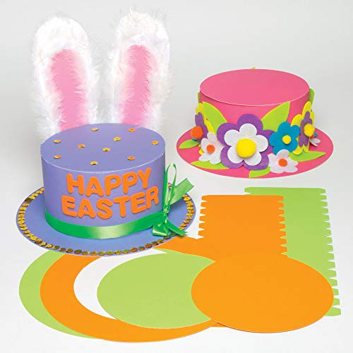 Baker Ross Colored Top Hat Craft Kits for Children to Decorate and Wear (Pack of 4) - Dress Up, Costume Party or Carnival / Mardi Gras Accessory - Creative Set for Kids