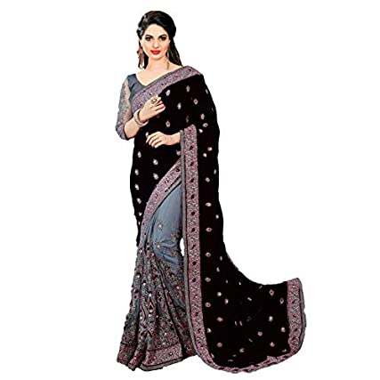 Nivah Fashion Satin and Net Embroidered Half and Half Saree with Blouse Piece in India 2020