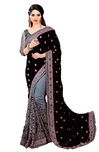 Nivah Fashion women's Satin & Net Half N Half Embroidery work Sari With Blouse piece K608 (Free, Black)