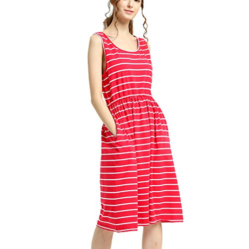 Summer Midi Tank T-Shirt Dress Red Sleeveless Empire Waist