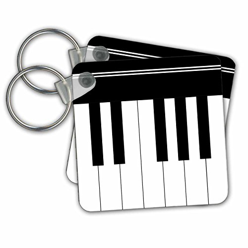 (Piano keys - black and white keyboard musical design - Key Chains, 2.25 x 2.25 inches, set of 2 (kc_112827_1))
