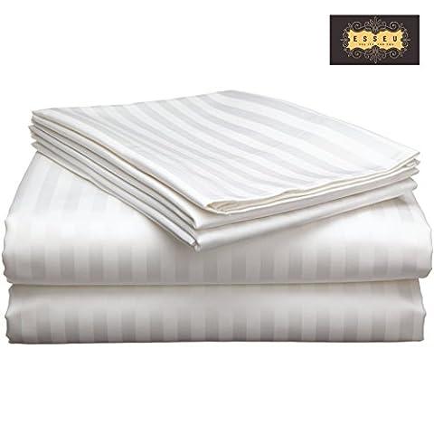 300 Thread Count 100% Cotton Sheet Set, Stripe (2 cms),Soft Sateen Weave, Deep Pockets,Home & Hotel Collection,Luxury Bedding-Bestseller- Super Sale 100% Cotton, by ESSEU (King, - Cotton Stripe Sage