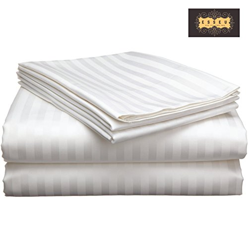 300 Thread Count 100% Cotton Sheet Set, Damask Stripe,Soft Sateen Weave, Deep Pockets,Home & Hotel Collection,Luxury Bedding-Bestseller- Super Sale 100% Cotton, by ESSEU (Queen, White)