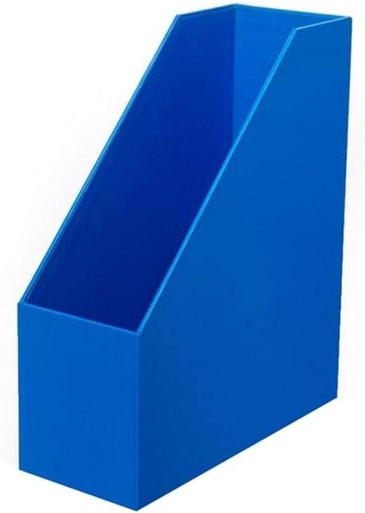 HUXIUPING Caja de almacenamiento A4 Carpeta de papel Suministros de oficina de escritorio Caja de papelería Dormitorio creativo Caja de libro de madera de inserción oblicua (Color : Sapphire blue) :