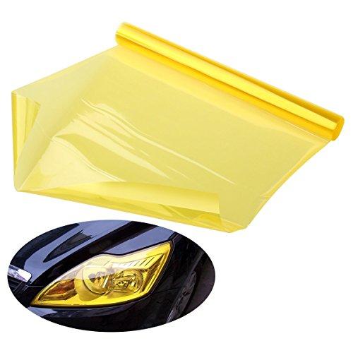 Foxnovo 30 * 120cm wasserdicht Auto Scheinwerfer Folie Tönungsfolie Nebelscheinwerfer Gelb