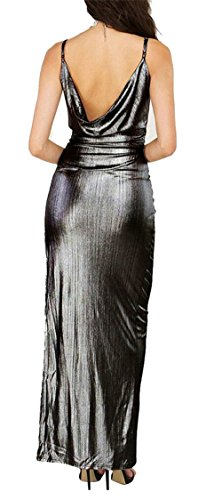 Maxi Women Neck Silvery Jaycargogo V Cocktail Color Split Dress Sexy Solid Bandage zqwpdnTxfF