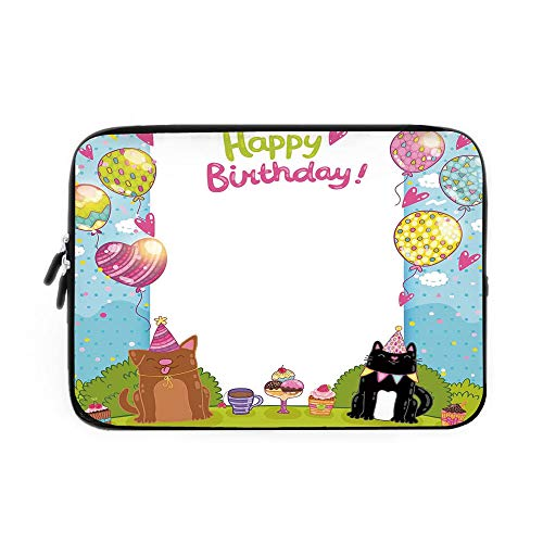 Birthday Decorations for Kids Laptop Sleeve Bag,Neoprene Sleeve Case/Party Black and Brown Cats Cakes Balloons Heart Polka Dots/for Apple MacBook Air Samsung Google Acer HP DELL Lenovo AsusMu
