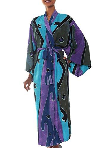 a4edbb2f4 NOVICA Purple Women's Batik Long Robe, Seaside Blue' (One Size Fits Most)