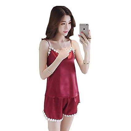 GSHGA Chaleco Sling Hielo Pijamas de Seda Mujer Verano Traje de Dos Piezas Pantalones Cortos Sexy