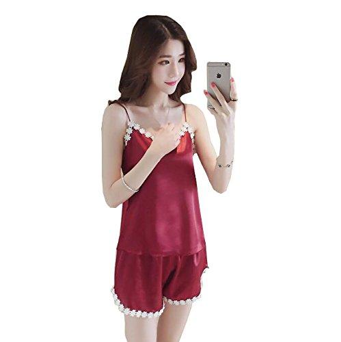Sleepwear due YiNan a Ice pezzi Shorts Silk Red Donna Summer Sling Pigiama Suit Pigiama Sexy g1gRqH