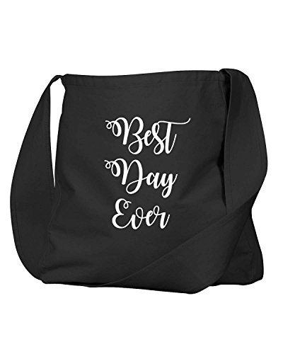 Funny Best Day Ever Wedding Bridesmaids Gifts Black Canvas Satchel Bag by Decal Serpent