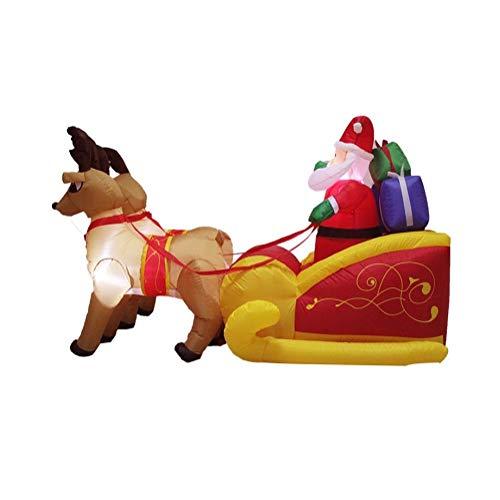 (WFTD Outdoor Santa Claus Inflatable Blow Up, Reindeer Sled Model Large 6.9Ft Garden Christmas Decoration, Built-in LED Lights)