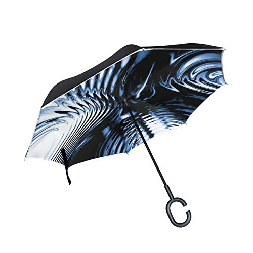 (RYUIFI Double Layer Inverted Abstract Modern Blue Pattern Structure Umbrellas Reverse Folding Umbrella Windproof Uv Protection Big Straight Umbrella for Car Rain Outdoor with C-Shaped Handle)