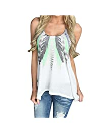 Willsa Women Feather Sleeveless Shirts Blouse Casual Tank Tops T-Shirt Plus Size