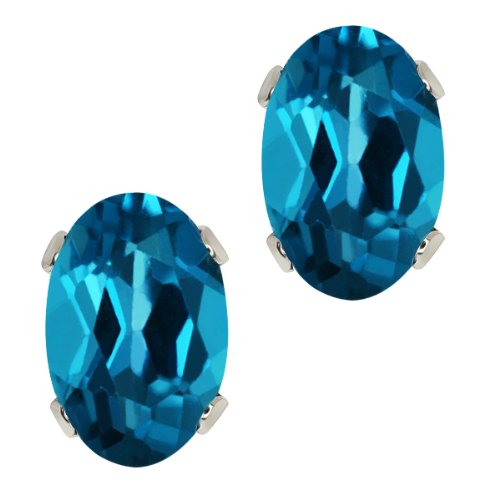 1.10 Ct 6X4 Oval Shape Natural London Topaz 925 Silver Stud Women's (Topaz Platinum Bands)