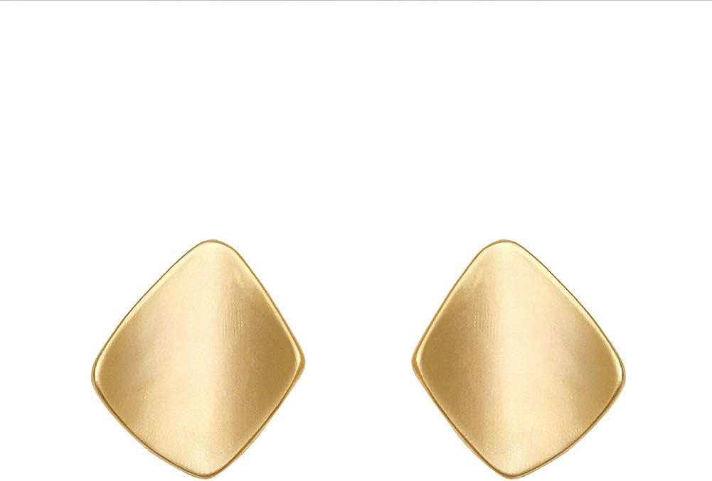 Matte Gold Clip On Earrings for Women, Geometry Earrings No Piercing Fake Earrings for Teen Girls Gift Hypoallergenic