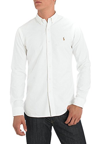 Polo+Ralph+Lauren+Men%27s+Long+Sleeve+Button+Down+Oxford+Shirt+%28Large%2C+White%29