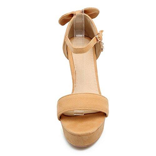 COOLCEPT Mujer Moda Correa de Tobillo Sandalias Punta Abierta Plataforma Tacon Ancho Zapatos con Bowknot Amarillo