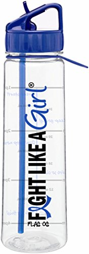 Fight Like a Girl Slimkim II Water Sports Workout Bottle Inspirational Time Marker With Measurement Goals 30 Oz (Blue) (Warrior Gear Fight)