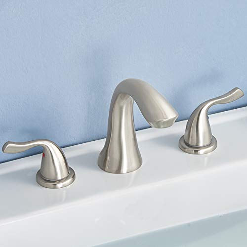 inless Steel Lead Free 2 Handles Three Holes Deck Mount Widespread Bathroom Faucet, Brushed Nickel Bathroom Sink Faucet with Hoses ()
