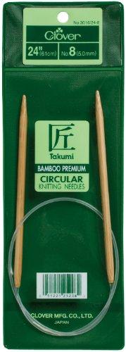 Clover 3016/24-09 Takumi Bamboo Circular 24-Inch Knitting Needles, Size 9