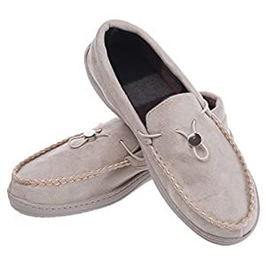 Festooning Men's Casual Pile Lined Slip-on Rubber Sole Microsuede Moccasin Flats House Slippers