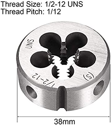 HSS High Speed Steel Threading Die uxcell 1//2 inches-12 UNSRight Hand Round Die Machine Thread Die Screw Die Tool